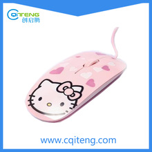 Flat Slim Optical Wired Mouse With Full Color Printing As Gift