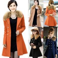 2014 new Women Woolen Winter Trench Double Button Fur Collar Coat Jacket women's coat