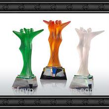 Team Award,Liuli 3 figure back to back Type trophy