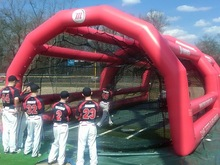 Hot sale air-sealed baseball training place inflatable batting cage,Large arena game place batting cage for sale