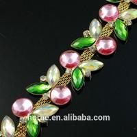 2015 sew on 2.5cm width decorative colorful acrylic rhinestone chain trimming