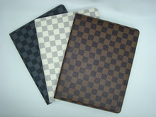 High quality PU embossed leather case for apple ipad2 iPad 3 smart cover check pattern case
