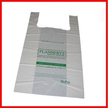 customer order accept, t-shirt plastic bag on roll/block, eco-friendly biodegradable with EPI additive, D2W, OXO, corn starch