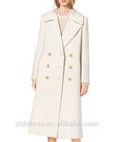 2014 Top Quality 100% cotton white cashmere women's coat