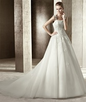 Suzhou Fashion Dress new arrive hot sale elegant wedding gown with cap sleeve and lace scalloped wedding gown