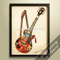 Abstrata moderna guitarra instrumento musical pintura a óleo para coffee bar