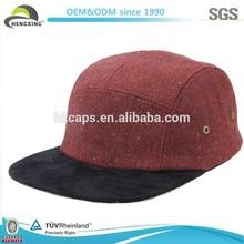 Custom 5 Panel Hat Cap Homespun Maroon Black