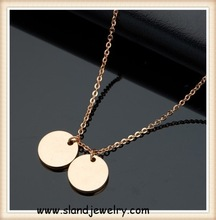 wholesale tiny rose gold necklace,stainless steel round disc necklace,Stamped with Initial of Your Choice