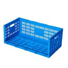 Folding plastic transport egg crate