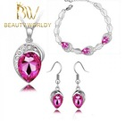 High quality New fashion pink crystal silver and gold wedding bridal jewelry set wholesale