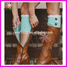 2014 Women's Crochet Knit Boot Cuff Leg Warmers Lace Trim Toppers Socks