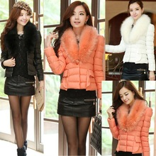 New Women Faux Fur Collar Slim Overcoat Parka Short Down Coat Jacket Outerwear SV008215#