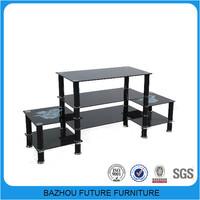 cheap modern metal glass modular tv furniture