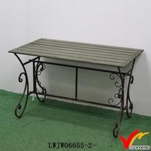 metal leg slab top distressed solid wood corner table