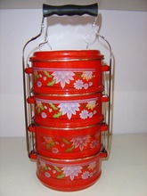 14CM 4pcs set Enamel used insulated food carrier