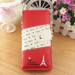 2015 alibaba stock price fashion attractive red patchwork wallet, Paris Eiffel Tower travel wallet