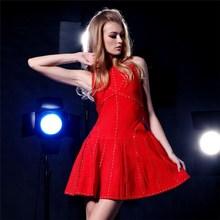 Red sexy formal beaded evening dress porm