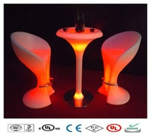 Classic LED Glowing bar table stands battery lighted plasticbar high table and chair