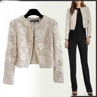 14413 New Arrival 2014 Autumn Winter Long Sleeve Slim Fit Hollow Out Women OL Lace Short Coat