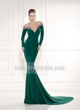 sexy v neck long sleeve applique satin back see through mermaid 2014 mint green prom dress