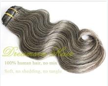 100% virgin human hair brazilian mixed grey wig 70% gray hair with 30% white hair
