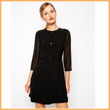 elegant mesh long sleeve dress front bow-tie black meeting dress DH0641