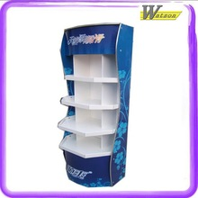 strong promotion and chain store 4 tiers cardboard wood folding display shelf for toy parts