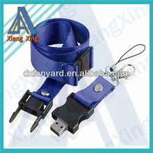 Plain blue mini usb flash drives buckle lanyard with capacity 128MB-64GB