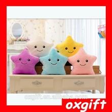 OXGIFT wholesale colorful lucky star shining led light pillow led star shape light throw pillow