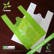 100% biodegradable material raw corn starch plastic vest bag