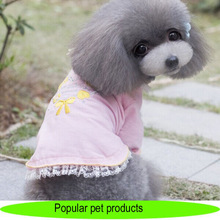 Wholesale pet products fashion dog clothes with lace, pink shirts with embroidery, pet dog product
