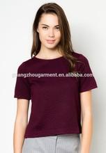 2014 OEM Survice Wine Slim Bubble Textured women 100% cotton Tshirts Manufacturers