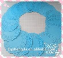Food grade lojas de fábrica de alta qualidade polegadas doilies de papel azul de papel doilies do laço