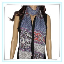 100% polyester voile new print crochet pattern scarf shawl