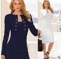 14435 nuevo de la moda las mujeres 2014 otoño invierno de manga larga de ajuste fino de color puro vestido de capa