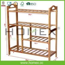 Fantastic quality bamboo 4 -layer shoe rack/HOMEX-FSC/BSCI