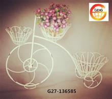White bike flower basket for indoor decoration