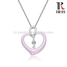 CMP2026-L3 Pink Dome Heart Pendant Stones Key Pendant Silver Jewelry