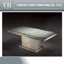 modern hand carved in-lay glass top marble dining table