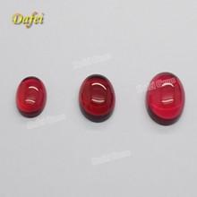 Oval Cabochon Red Flat Back Glass Gemstone On Sale