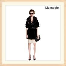 Luxury fur collar black short fox fur coat for lady 2014