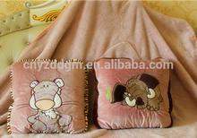 plush hold pillow&hug quilt/plush animal pillow/baby hold pillow & blanket