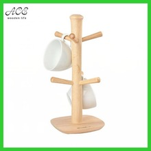 Wooden mug tree for up to 6 mugs