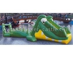 Green alligator inflatable Water slide games , inflatable floating water park, inflatable water games