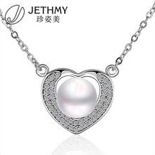 2.1X1.7CM Brilliant White Zircon Ladies Mixed Styles Heart Pearl Necklace Designs