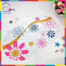 Print flowers bottom price hot selling branded pvc shower mat bath mat