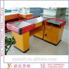supermarket metal and plastic cashier desk checkout counter
