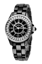 High quality luxury ladies ceramic watch band , sapphire crystal ceramic watch , black ceramic watch
