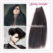 6A High Quality 100% Unprocessed Brazilian Kinky Straight Weave Coarse Yaki Virgin Hair Weft Italian Yaki Human Hair Extensions