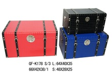 Large Colorful Leather Fabric Covered wooden trunk